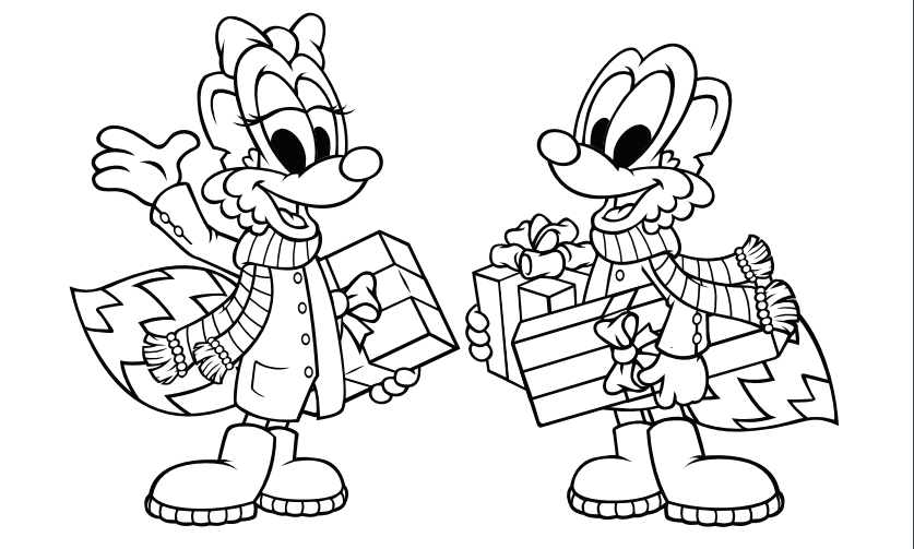 Holiday Gifts Coloring Page